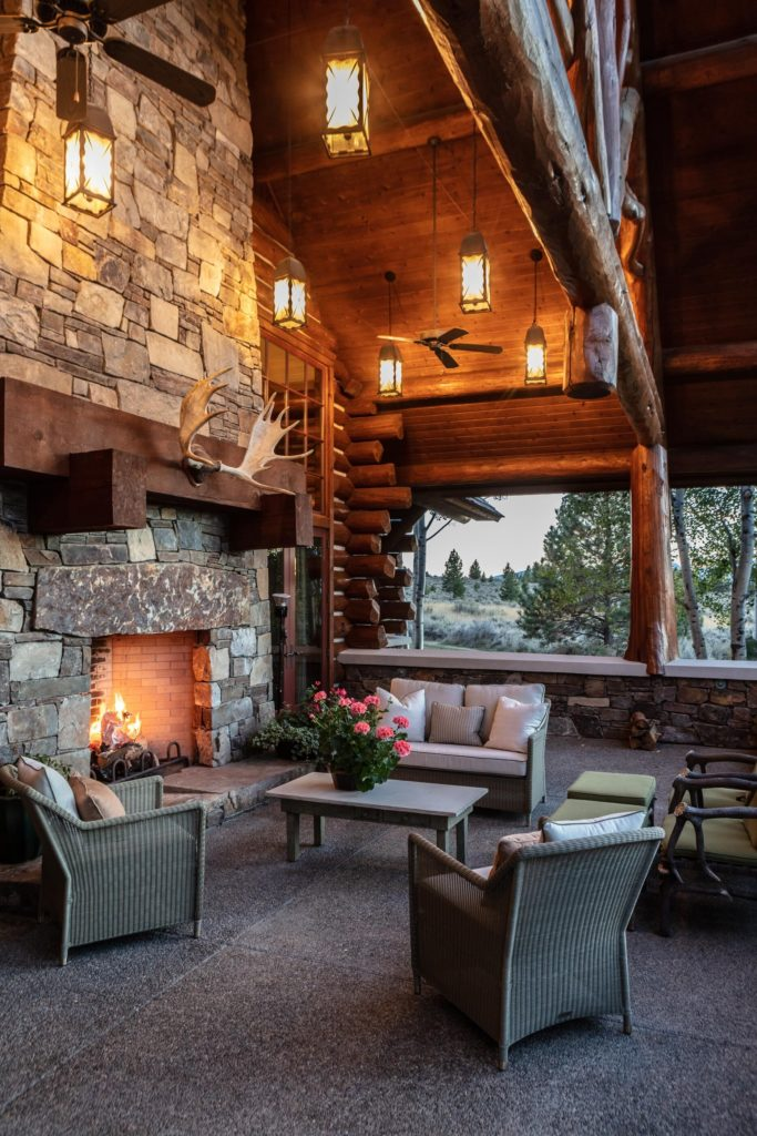 outdoor spaces, montana homes, luxury log cabins, interior design
